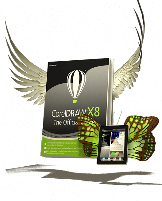 CorelDRAW X8 The Official Guide Book and eBook illustration with wings coming out of the books.
